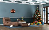 Living Room Of A Mountain House With Christmas Tree And Leather Chaise Lounge - 3d Rendering poster