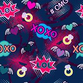 Abstract Seamless Sport Pattern For Girl And Boy. Creative Colorful Sport Wallpaper With Pop Art Com poster