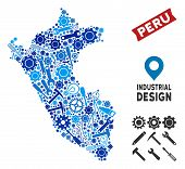 Service Peru Map Collage Of Cogwheels, Spanners, Hammers And Other Tools. Abstract Territorial Plan  poster