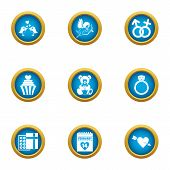 Wedding Formality Icons Set. Flat Set Of 9 Wedding Formality Vector Icons For Web Isolated On White  poster