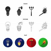 Led Light, Street Lamp, Match.light Source Set Collection Icons In Black, Flat, Outline Style Vector poster