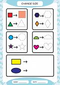 Change Size. Different Shape Sizes. Small, Large. Learning Basic Shapes. Color, Trace, And Draw. Wor poster