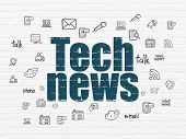 News Concept: Painted Blue Text Tech News On White Brick Wall Background With  Hand Drawn News Icons poster