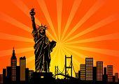Постер, плакат: Горизонты города Манхэттен Нью Йорк