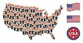Candle Items Are Combined Into Usa Map Stylization. Vector Composition Of American Geographic Plan I poster