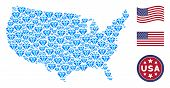 Diamond Symbols Are Composed Into American Map Mosaic. Vector Concept Of Usa Geographical Map Is For poster