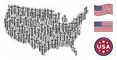 Medieval Sword Items Are Combined Into American Map Collage. Vector Collage Of American Territory Pl poster