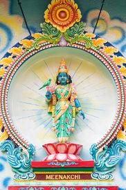 stock photo of meenakshi  - Porcelain image of Meenakshi a consort of Shiva from Sri Mariamman Hindu temple in Ho Chi Minh City Vietnam - JPG