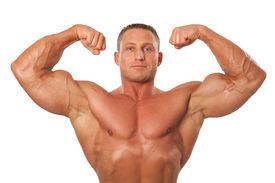 stock photo of body builder  - Attractive male body builder demonstrating contest pose isolated on white background - JPG