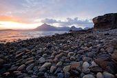 Beautiful Sunset at Stony Beach Elgol Isle of Skye Highland Scotland