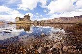 Reflection of Eilean Donan Castle, Highland Scotland UK