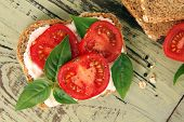Tomato and basil summer sandwich.