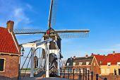 Bascule Bridge And  Windmill At Sunset. Heusden. Netherlands