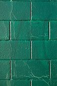 Cracked Green Cynder Block Wall