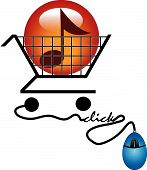 Shopping Cart With Music Button And Mouse Click.