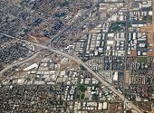 Riverside California aerial at the 60, 91 and 215 freeway interchange.