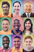 Happy smiling portrait collage collection of multiracial group of people showing racial diversity and unity posing for headshot on colourful multicolored background