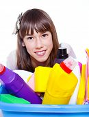Cleaning agents and smiling girl