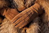 Wearing Fur Coat And Gloves In Cold Winter