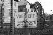 picture of auschwitz  - Warning sign at Auschwitz concentration camp - JPG