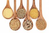 foto of buckwheat  - Cereal and grain selection of bulgur wheat - JPG