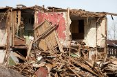 picture of hurricane wind  - Hurricane earthquake disaster damage ruined house - JPG
