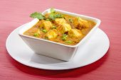 picture of paneer  - cottage Cheese cooked with peas in white bowl - JPG