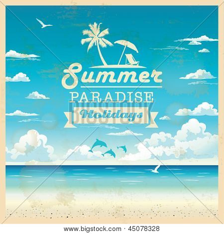 Summer shoreline vector foundation in retro style