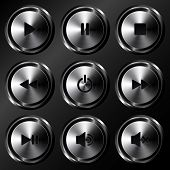 Metallic sound buttons vector set