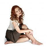 stock photo of pantihose  - Girl in short skirt on white background - JPG