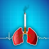World asthma day background with cigarette, lungs. Illustration of no smoking background.