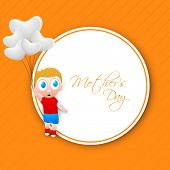 Cute little boy holding balloons and tag Mothers Day on yellow background.