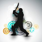 Cricket batsman in playing action on colorful abstract background.