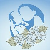 Happy Mothers Day background with sketch of Mother and her child with flowers on blue background.