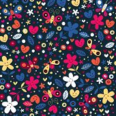 cute butterflies, hearts and flowers pattern
