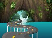 picture of long winding road  - Illustration of a long road at the cave - JPG