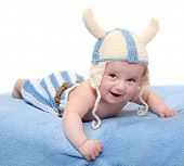 foto of viking  - Little viking in handmade knitted costume - JPG