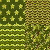 Military green seamless patterns set: camo, chevron, stars. Vector background.