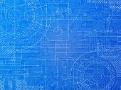 stock photo of gear  - Technical blueprint electronics and mechanical background illustration - JPG