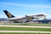 ZURICH - MAY 24:Singapore Airlines Airbus A380 taking off on May 24, 2010 in Zurich, Switzerland. A-