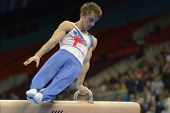 MOSCOW, RUSSIA - APRIL 20: Max Whitlock, Great Britain performs exercise on pommel horse in final of