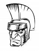 Ancient warrior in helmet