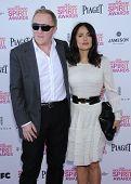 LOS ANGELES - FEB 23:  Salma Hayek & Francois-Henri Pinault arrives to the Film Independent Spirit Awards 2013  on February 23, 2013 in Santa Monica, CA.