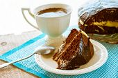 stock photo of brownie  - Brownie Cake dessert and Cup of coffee on wooden board - JPG