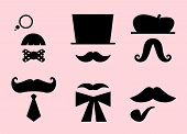 Mustaches And Hats Retro Accessories Isolated On Pink