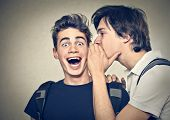 stock photo of ear  - friends confide secrets - JPG