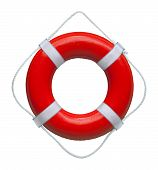 Red safety buoy ring isolated on white