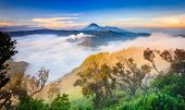 foto of bromo  - Bromo volcano at sunriseTengger Semeru national park East Java Indonesia - JPG
