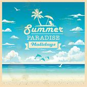 foto of dolphins  - Summer beach vector background in retro style - JPG