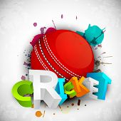 stock photo of cricket  - Abstract 3D colorful text Cricket with ball on grungy colorful background - JPG